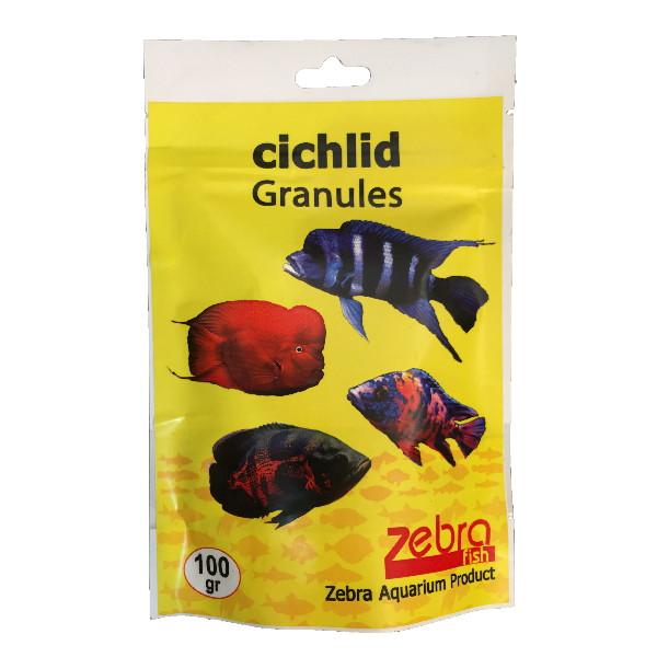 غذا خشک ماهی زبرا مدل chichlid granules وزن 100 گرم