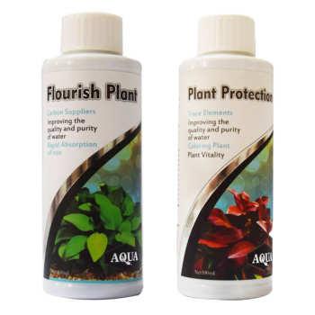 محلول محافظ گیاه آکوا به همراه محلول کود مایع رشد گیاه