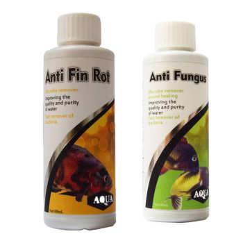 محلول ضد پوسیدگی باله و دم آکوا به همراه محلول ضد قارچ