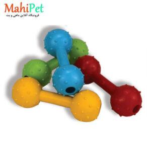 اسباب بازی سگ طرح دمبل خار دار جنس RUBBER کد TOY-18